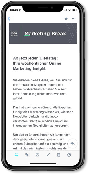 Marketing Break wöchentlicher Newsletter