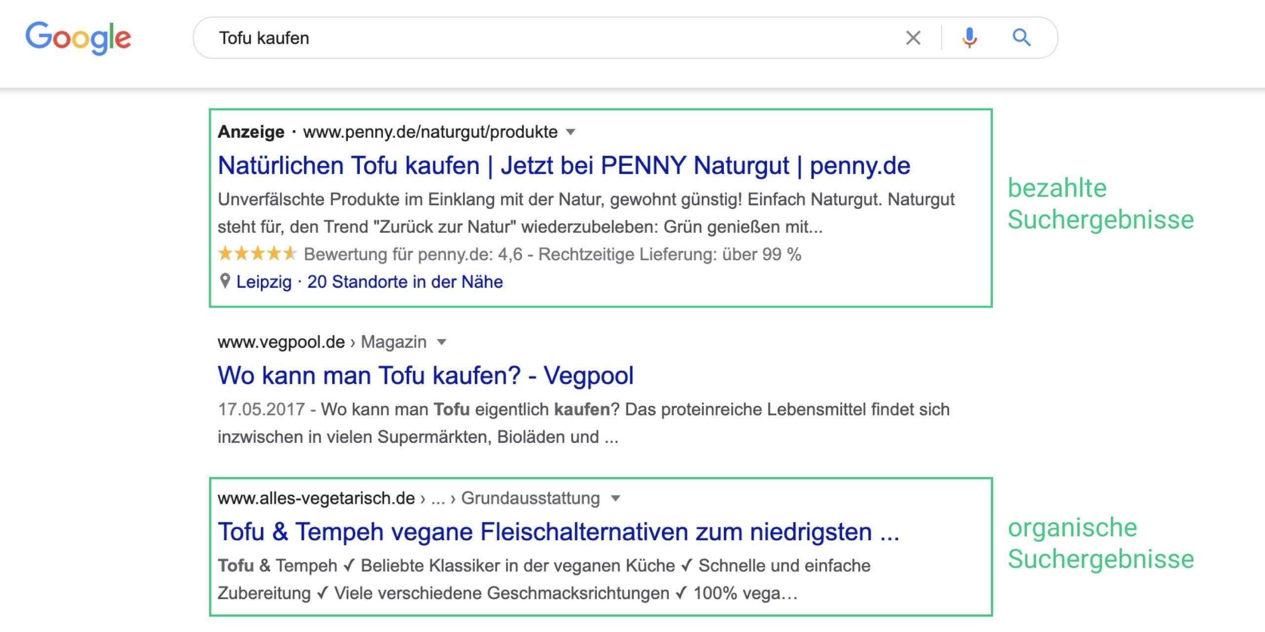 Google Suchmaschinenergebnisse