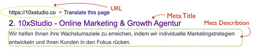 Beispiel eines Google Suchergebnisses